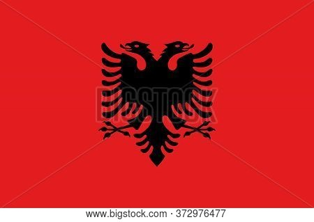 National Albania  Flag, Official Colors And Proportion Correctly. National Albania  Flag.
