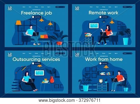 Remote Work Flat Landing Pages Set. Freelancer Working With Laptop In Comfortable Conditions Scenes