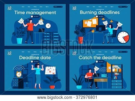 Catch The Deadline Flat Landing Pages Set. Stressful Situation And Overtime Work, Hurrying Up With P