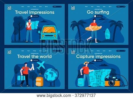 Travel The World Flat Landing Pages Set. Tourists Traveling By Car And Airplane, Surfer With Surfboa