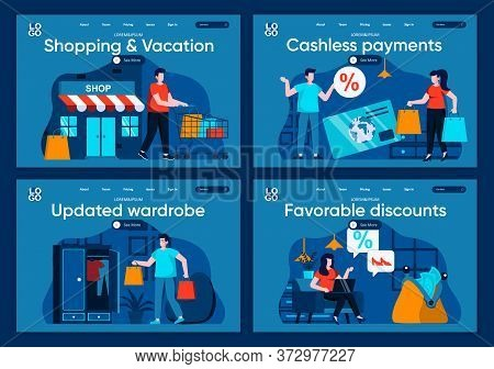 Shopping And Vacation Flat Landing Pages Set. Shopper Carry Shopping Bags, Shop Now Scenes For Websi