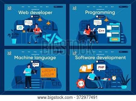 Software Development Flat Landing Pages Set. Frontend And Backend Developers Working In Office Scene