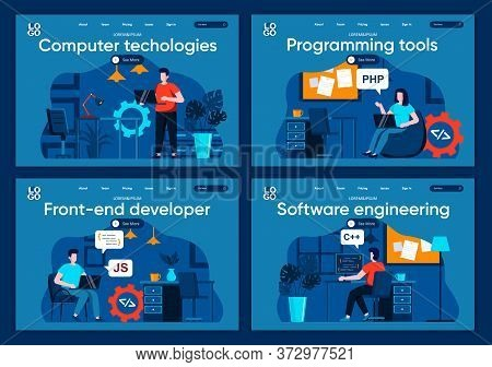 Computer Technologies Flat Landing Pages Set. Software Development Company Scenes For Website Or Cms