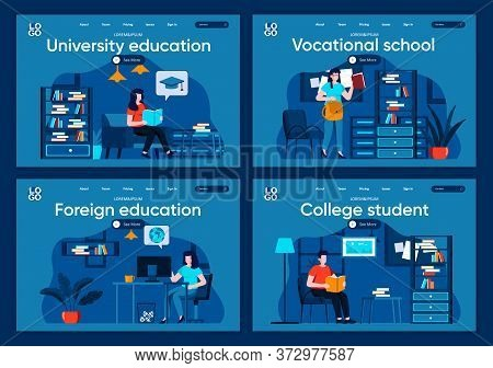 University Education Flat Landing Pages Set. Distance Learning, Professional Courses Scenes For Webs