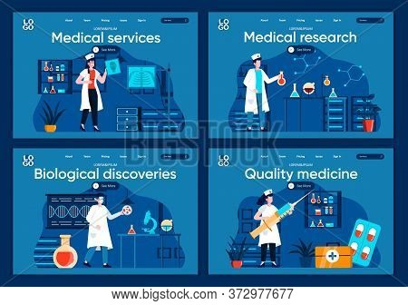 Medical Services Flat Landing Pages Set. Diagnosis And Treatment In Modern Clinic Scenes For Website