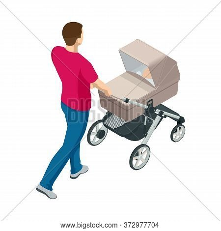 Isometric Baby Carriage Isolated On A White Background. Kids Transport. Strollers For Baby Boys Or B