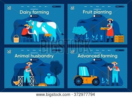 Advanced Farming Flat Landing Pages Set. Agricultural Workers Milking Cow And Plant Seedlings Scenes