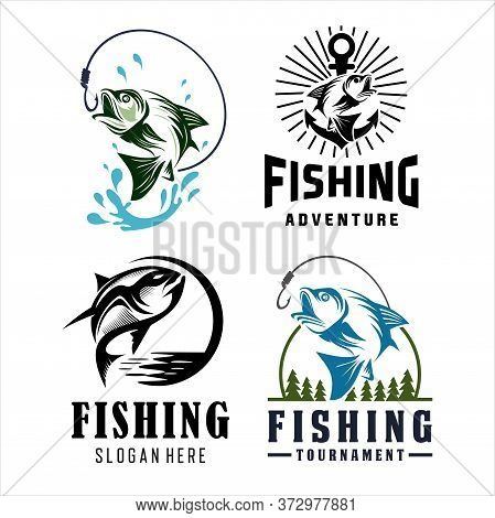 Fishing Tournament Vector Design Logo Collection, Bass Fishing Logo. Unique And Fresh Bass Jumping O