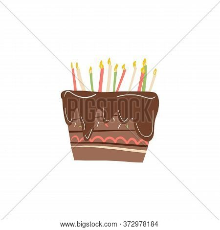 Cute Chocolate Cake With Lot Of Burning Candles And Colorful Creme Topping Decoration And Cacao Icin