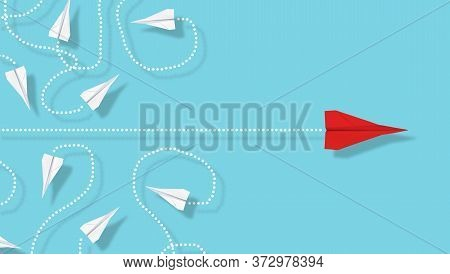 Red Paper Plane Emerge From Group Of Chaotic Flying White Paper Planes On Blue Background, Business