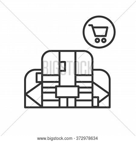 Shopping Mall Icon. Linear Pictogram Of Big Shopping Center. Real Estate, Retail Business And Infras