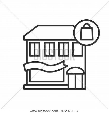 Department Store Icon. Multiple Boutiques Building With Shopping Bag Line Pictogram. Sale And Custom