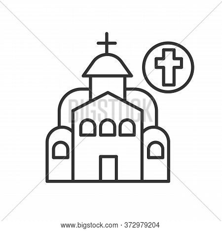 Christian Church Icon. Linear Pictogram Of Temple With Catholic Cross. Concept Graphical Element Lan