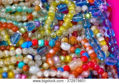 Colorful Beads Bracelets And Necklaces Background Pattern