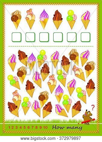 Math Education For Children. Count Quantity Of Ice Creams And Write Numbers. Developing Counting Ski