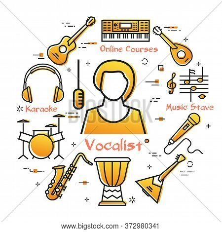 Vector Linear Banner For Music - Vocalist Girl