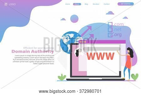 Vector Web Header Template Of Domain Authority In Flat