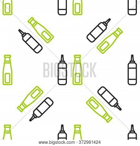 Line Sauce Bottle Icon Isolated Seamless Pattern On White Background. Ketchup, Mustard And Mayonnais