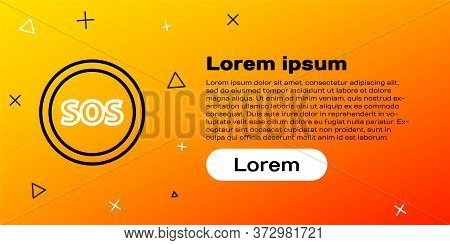 Line Location With Sos Icon Isolated On Yellow Background. Sos Call Marker. Map Pointer Sign. Colorf
