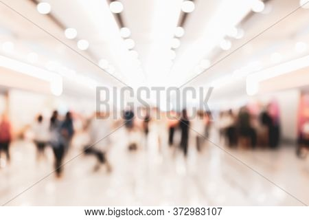 Abstract Blur People In Exhibition Hall Event Background, Defocused Tradeshow Event Exhibition, Busi