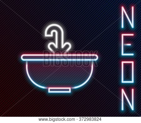 Glowing Neon Line Washbasin With Water Tap Icon Isolated On Black Background. Colorful Outline Conce