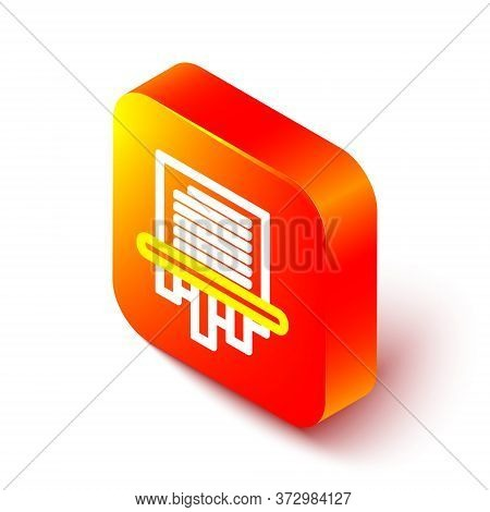 Isometric Line Paper Shredder Confidential And Private Document Office Information Protection Icon I