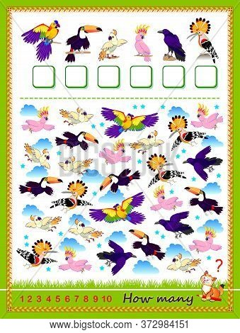 Math Education For Children. Count Quantity Of Birds And Write The Numbers. Developing Counting Skil