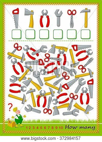 Math Education For Children. Count Quantity Of Tools And Write The Numbers. Developing Counting Skil