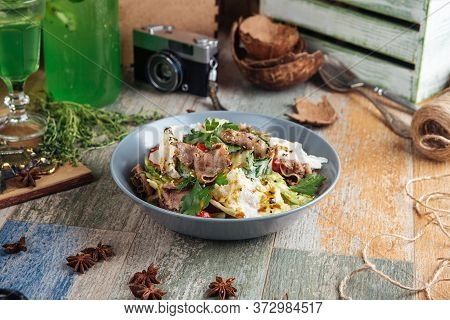 Gourmet Salad With Roast Beef And Vegetables In A Bowl,  Horizontal