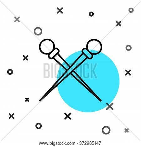 Black Line Knitting Needles Icon Isolated On White Background. Label For Hand Made, Knitting Or Tail
