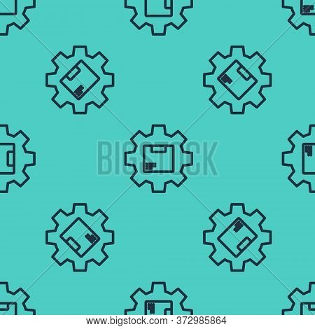 Black Line Gear Wheel With Package Box Icon Isolated Seamless Pattern On Green Background. Box, Pack