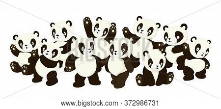 Cute Cartoon Panda Characters Crowd With Various Emotions Vector Illustration