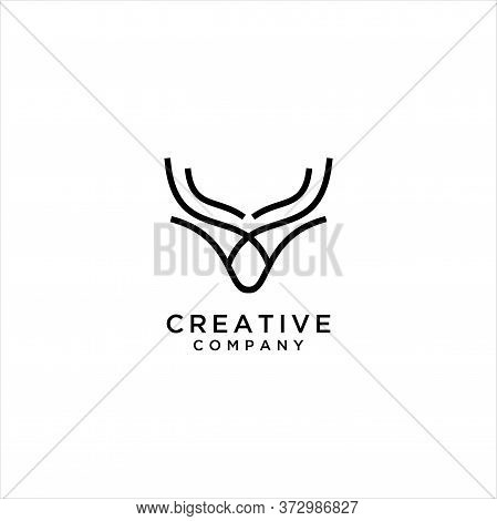 Simple Unique Cattle Logo Linear Design, Bovines,bison, Water Buffalo, Taurus And Simple Bull Logo L