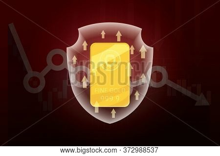 Vector Of Gold Bar In Shield And Arrows Up On Stock Or Money Trade Marketplace Falling Down. Busines