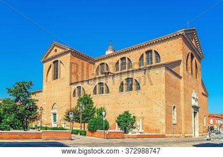 Cathedral Santa Maria Assunta Duomo Roman Catholic Church In Chioggia Town Historical Centre, Blue S