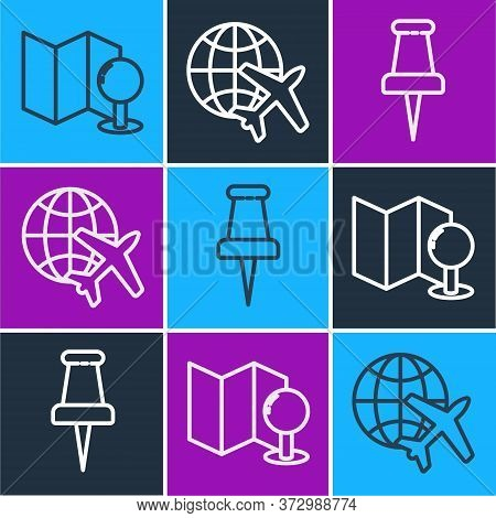 Set Line Folded Map With Push Pin, Push Pin And Globe With Flying Plane Icon. Vector