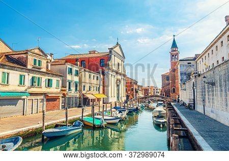 Chioggia Cityscape With Narrow Water Canal Vena With Moored Multicolored Boats, Chiesa Dei Filippini