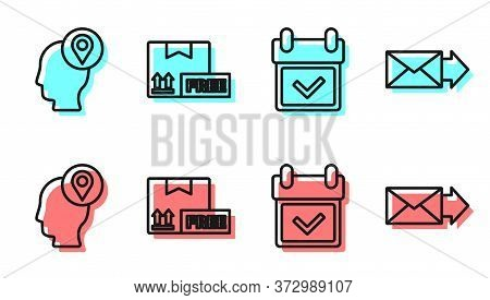 Set Line Calendar With Check Mark, Delivery Man With Cardboard Boxes, Cardboard Box With Free Symbol