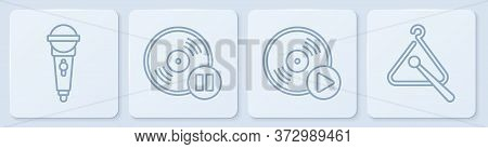 Set Line Microphone, Vinyl Disk, Vinyl Disk And Triangle Musical Instrument. White Square Button. Ve