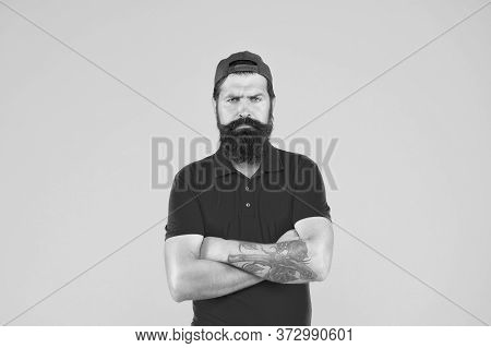 Hipster Life. Brutal Handsome Hipster Tattooed Man. Bearded Man Trendy Style. Beard And Mustache Gro