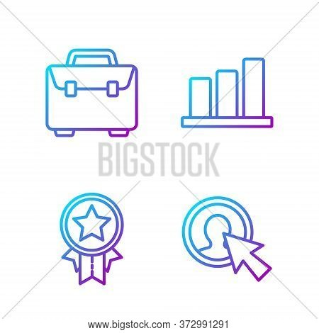 Set Line User Of Man In Business Suit, Medal With Star, Briefcase And Pie Chart Infographic. Gradien