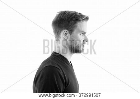 Male Barber Care. Fashion Model Isolated On White. Mens Clothing. Handsome Man In Cardigan Having Br