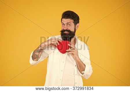 Healthy Heart. Man Bearded Hipster Hold Red Heart. Health Care Concept. Check Helps Understand Risk