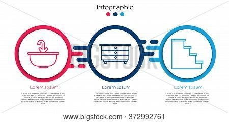 Set Line Washbasin With Water Tap, Chest Of Drawers And Staircase. Business Infographic Template. Ve