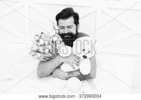 Flowers Delivery Service. Make Surprise Concept. Gift For Spouse. Cute Teddy Bear. Fresh Flowers. Be