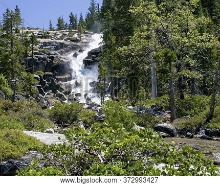 Bassi Falls At The Eldorado National Forest, California, Usa, In The End Of The Winter Of 2017, Afte