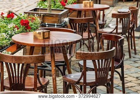 Empty Street Patio Restaurant Outdoor Space Wooden Table And Chairs Without People Here On Corona Vi