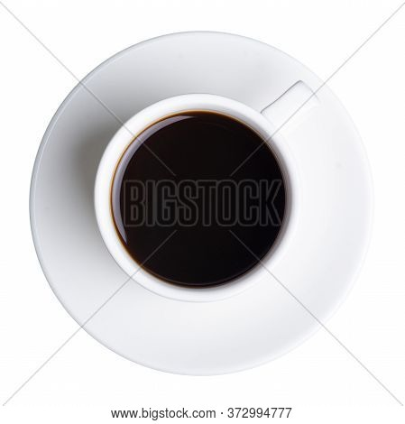 White Cup Of Coffee And Saucer On White Background Isolation, Top View