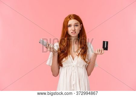 Indecisive And Unsure Cute European Redhead Woman Shrugging, Looking Confused And Useless Camera, Sh