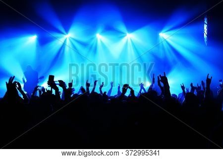 Silhouette Of A Musician On Stage And Crowd At A Concert